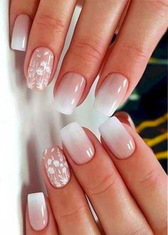 37 perfect ombre nail design to upgrade your style summer nail designs Square Nail Designs, Ombre Nail Designs, Nail Art Designs, Ombre Nail Art, White Nail Designs, Cute Nails, Pretty Nails, Nagellack Design, Bride Nails