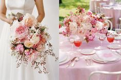 cherry blossom and peony bouquet
