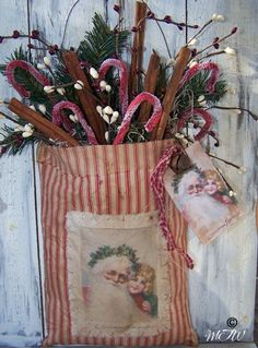 Prim Homespun Christmas Bag...stuffed with pine, grunged canes, & cinnamon sticks.
