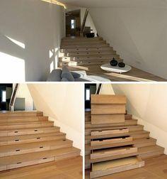 Drawer built into the stairs | OrganizingMadeFun.com