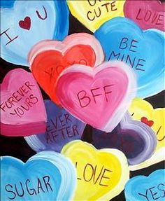 Teens and Candy Hearts - Sarasota, FL Painting Class - Painting with a Twist