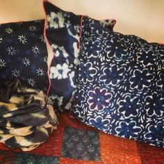 The Stitching Project. Indigo Dye, Hand Stitching, New Work, Alexander Mcqueen Scarf, Weave, Hand Weaving, Cushions, Silk, Natural