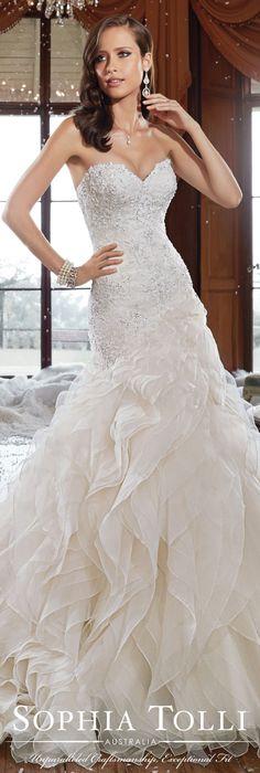 The Sophia Tolli Fall 2015 Wedding Dress Collection - Style No. Y21511 sophiatolli.com #laceweddingdress @moncheribridals