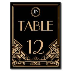 1920's theme wedding save the date | ... wedding table number postcard with a 1920 s the great gatsby theme in