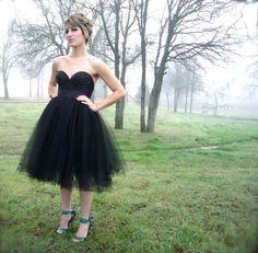 GORGEOUS!! 2 pc Black Bustier/Corset Dress Tulle Tutu Knee Length Custom Size Made to Measure Ballet Retro