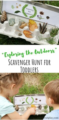 Exploring the Outdoors Scavenger Hunt + Free Printable – Toddler at Play Super fun and active activity for preschoolers and toddlers. They'll have a fun exploring the beautiful nature that surrounds them and find their hidden treasures. Outdoor Activities For Toddlers, Forest School Activities, Nature Activities, Summer Activities, Outdoor Preschool Activities, Therapy Activities, Family Activities, Educational Activities, Toddler Outdoor Games