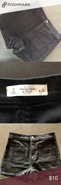 Abercrombie high waisted shorts Abercrombie high waisted black shorts.  Size 2.  These shorts are in perfect condition and look way better in person.  The color looks like the photo of the tag and for some reason isn't showing in the full photos.  There is absolutely no faded look, it's just extra bright and sunny today. I bought these to replace my favorite pair and wore them once. Abercrombie & Fitch Shorts