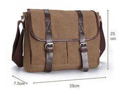 Mens Canvas Leather Messenger Shoulder Travel Hiking by GengsBag