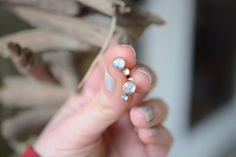 Moonstone Stud earrings, bezel set, sterling, brass // IN-ORBIT STUDS by Blydesign on Etsy https://www.etsy.com/listing/267793391/moonstone-stud-earrings-bezel-set