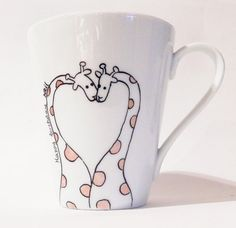 Giraffes in love colored hand painted white by PaintMyName on Etsy