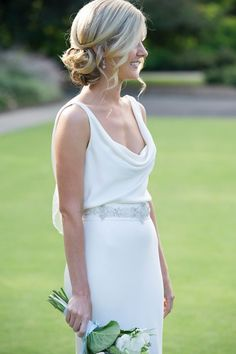 hair style, side chignon and loose curls around face