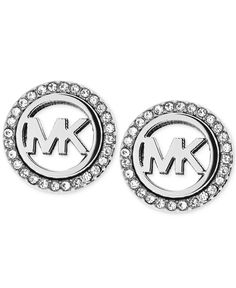 Michael Kors Silver-Tone Mk Pave Stud Earrings
