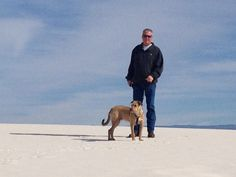 My Loverboy with our wire mouth heeler at white sands national park