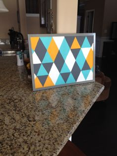 Painted bulletin board to coordinate with decor