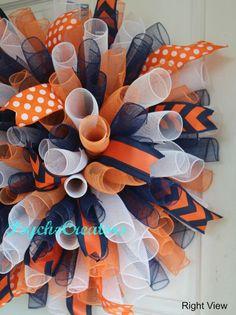 Navy Blue Orange White Deco Mesh Wreath Curly by PsychoCreators
