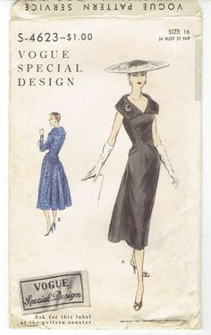 VSD S-4623 Cartridge Pleated Back Elongated Bodice Dress 50s Sz16/34/37 fitted dress with front draping & optional sleeve lengths. All precut tissue pieces sld 9.99+2.61 2bds 3/9/17