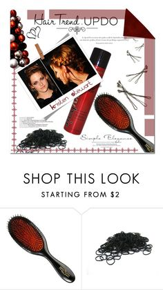 """""""#holidayupdo"""" by insaneryk ❤ liked on Polyvore featuring beauty, Mason Pearson, Love Quotes Scarves, Sexy Hair, Agent Provocateur and BOBBY"""