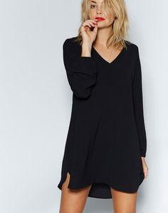 V Neck Side Split Dress Black