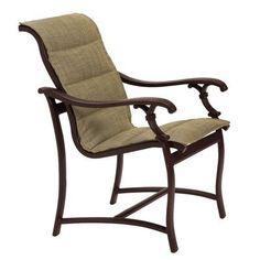 Tropitone Ravello Patio Dining Chair with Cushion Finish: Parchment, Fabric: Sparkling Water