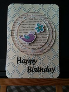 Card made April 2015 using pages from a book