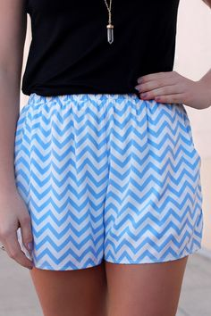 Blue Chevron Print Shorts