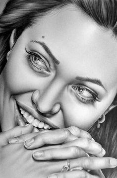 UNREAL> amazing artist Ileana Hunter on etsy. Angelina Jolie Fine Art Pencil Drawing Print by IleanaHunter, $9.99