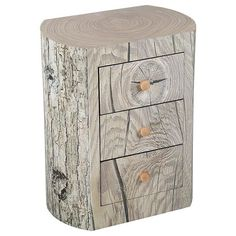 Crafted from birch-wood, this side table is an eye-catching addition to any scheme. Styled like a tree-trunk, it features three drawers. Decor, Wood Chest, Drawer Table, Furniture, Wood, Side Table, Console Furniture, Table, Industrial Style Decor