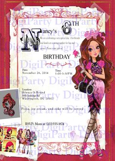 Briar Beauty EVER AFTER HIGH Birthday Invitation and by DigiParty, $9.99