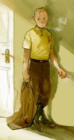 Tintin. This is a beautiful rendition of him, I like the cigarette and the suspicious blood stain, kinda gives him an edge: