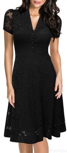 57bb544cecadeb MIUSOL Cap Sleeve Black Lace A-line 1950s Style Dress 1950s Fashion