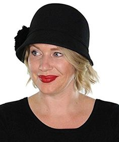 Adeline Wool Bucket Hat with Faux Fur Flower Vintage Cloche Flapper Tea Party Derby Church (Black) at Amazon Women's Clothing store: