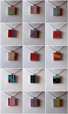 Ack! Talk about recycling. These are scrabble pieces and washi masking tape pendants! Too cute!