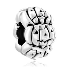 6e52092fa Details about Sterling Silver Carved Pumpkin Bead Charm Halloween Autumn  Jack-o'-Lantern