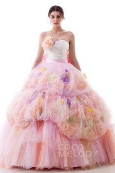 47920f9e449da Ld4504 リボン 造花ドレス お花いっぱい ピンク 春 夏 カラードレス