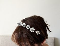 FLOWER CROWN Cream Crochet Flower Crown Bridal hair by ReddApple