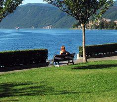 L'azzurro e il verde e il rosso Lago d'Orta, a Omegna, Piemonte, Italia.
