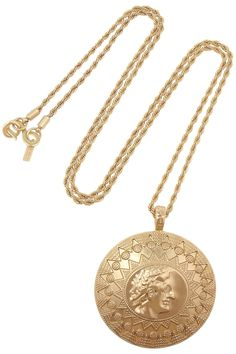 Brushed gold-plated necklace by Kenneth Jay Lane