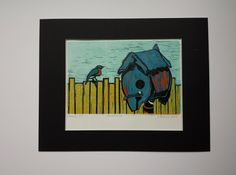 The Homecoming.  A birdhouse, a fence and a bird print 9.5 in x 7.5 in by MoreThanOneMuse on Etsy