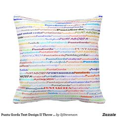 Punta Gorda Text Design II Throw Pillow