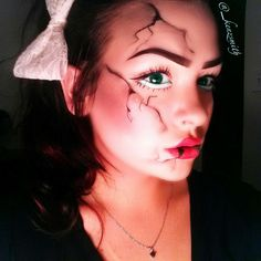 Cracked/broken porcelain doll Halloween make up look. Full ...