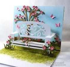 KC Elizabeth Craft Garden Bench. Go to link to see tutorial and instructions  http://www.kittiekraft.com/