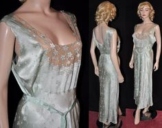 Empress Josephine! Beautiful 1930s Bias-Cut Silk Nightgown~  (X-Lg Sz- 44) on Etsy, $225.00