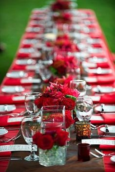 Long Table set up with Red cloth with family or friends Red Wedding, Fall Wedding, Wedding Reception, Reception Ideas, Wedding Stuff, Wedding Themes, Wedding Decorations, Table Decorations, Wedding Ideas