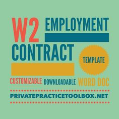 Private Practice W2 Employee Contract Template — Private Practice Toolbox