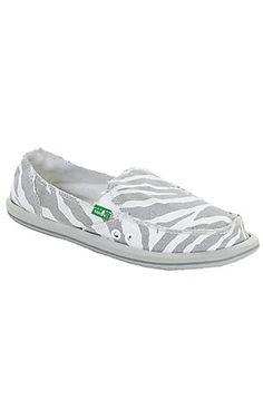 Sanuk® I'm Game™ Ladies Zebra Gray & White Canvas Sidewalk Surfer Shoes   Cavender's Boot City