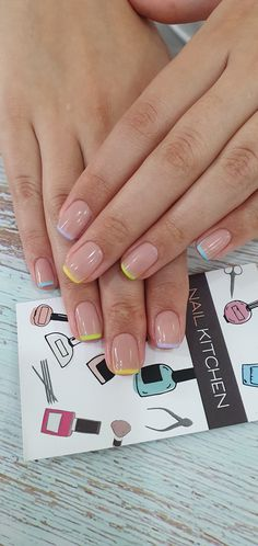 Colored French Nails, Colored Nail Tips, French Tip Acrylic Nails, French Manicure Nails, Best Acrylic Nails, Summer French Nails, French Pedicure, Frensh Nails, Sns Nails Colors