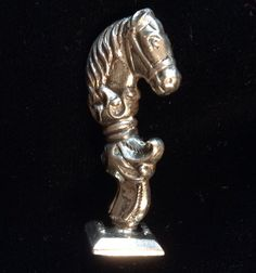 This is a very rare example of a fine writing accessory from the late 1800s. This Sterling Wax Seal Stamp is hallmarked Codding Bros. & Hielbron - a figural silver equestrian form featuring an engraved monogram. A wonderful addition to your fine writing implements, a gift to yourself or another that you highly esteem.