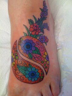 Yin Yang Flowers Tattoo On Foot