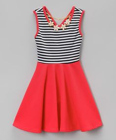 Another great find on #zulily! Coral Stripe Skater Dress & Daisy Necklace - Girls #zulilyfinds