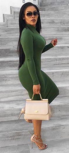 Pinterest~ @loovvenicole this outfit can be used for fashion buisness or even for a lunch date. the dress is an olive green color and the heels are a nude.  #justfabstyle #fidimfashionclub